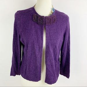 Boden | Women's Purple Beading 14 Cardigan  |1575